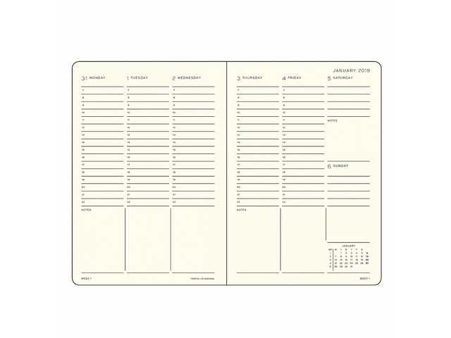 Leuchtturm academic week planner A6 pocket black 18 maanden 2019-2020